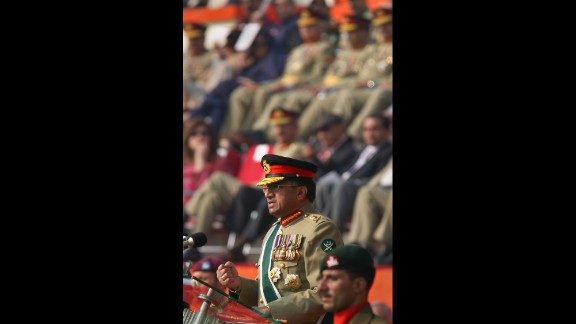 Musharraf speaks at a change-of-command ceremony in Rawalpindi on November 28, 2007. Musharraf stepped down as leader of Pakistan's army a day before he was to be sworn in as president for the third time.