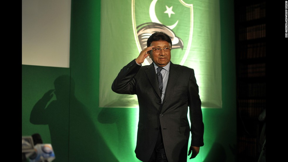 Musharraf salutes as he arrives at a news conference in London in 2010. Musharraf fled to the United Kingdom instead of facing the charges against him in Pakistan.
