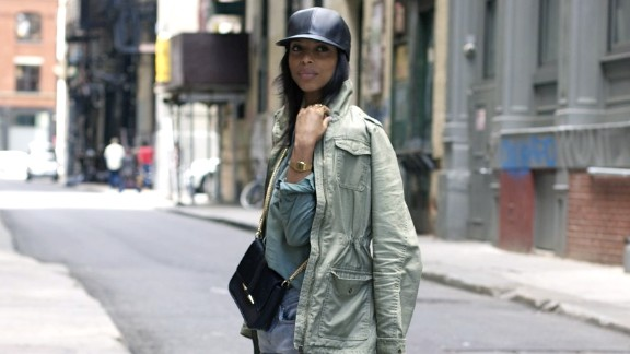 """Lloyd layers a military green work shirt and anorak for what she calls an """"urban camouflage feel."""""""