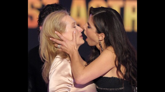 "January 15, 2015: The Broadcast Film Critics Association bestows awards on performances they deem most deserving. Michael Strahan hosts this year, where once again ""Birdman"" and ""Boyhood"" head the nominations. Though Sandra Bullock, shown here kissing Meryl Streep after she beat her for best actress in 2010, isn't nominated this year, we hope for another memorable moment like this."