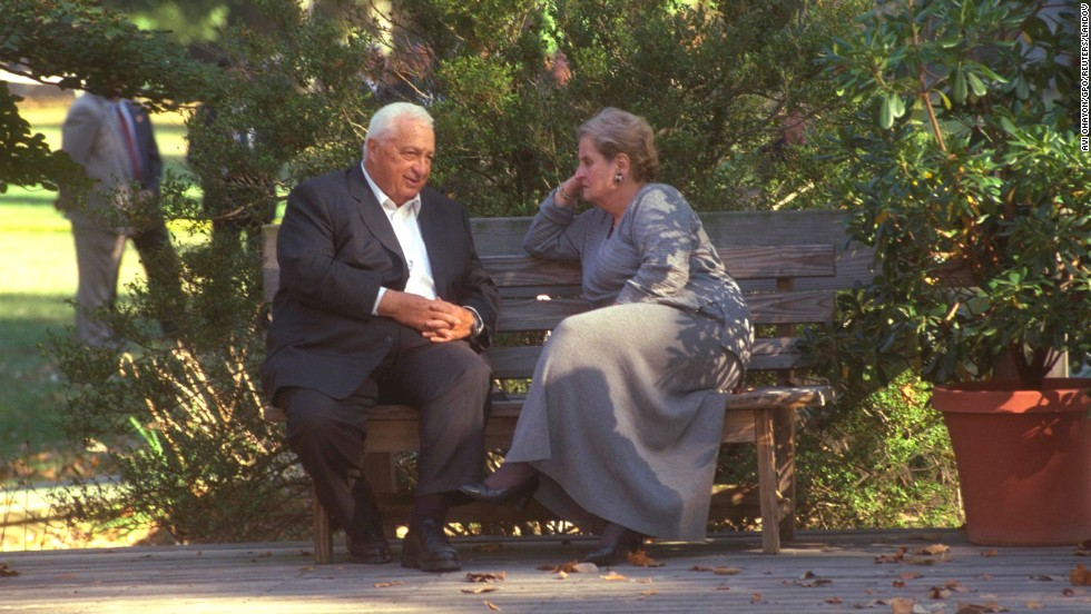 Serving as foreign minister, Ariel Sharon talks with U.S. Secretary of State Madeleine Albright during the October 1998 Middle East peace summit in Maryland.