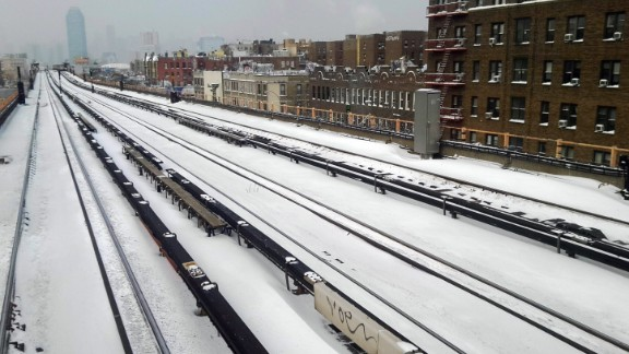 Snow covers subway rails in New York City on January 3.