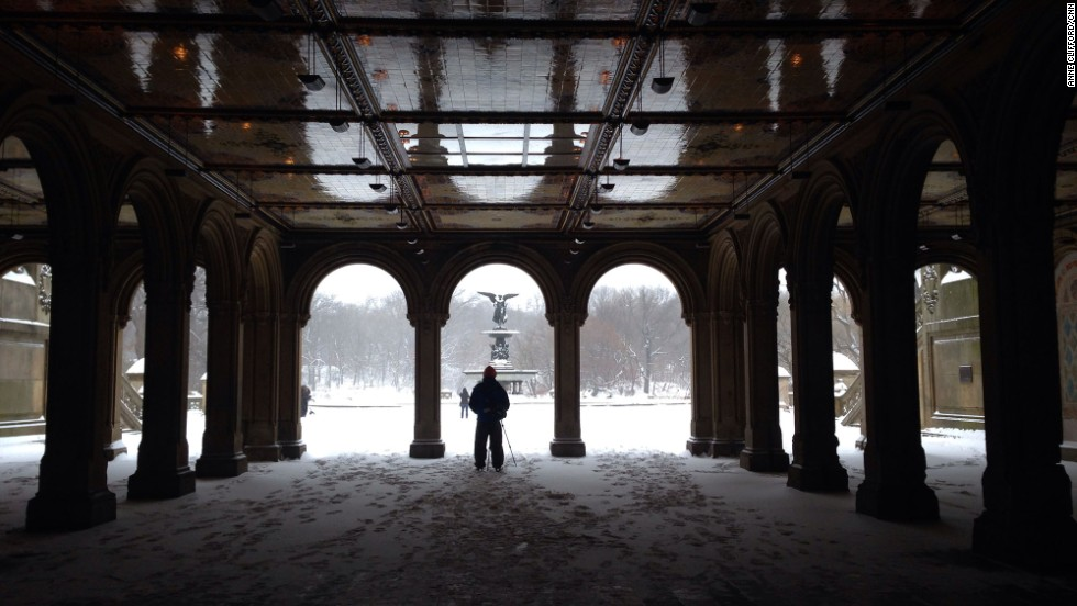 A man takes a photo of the view in Central Park.