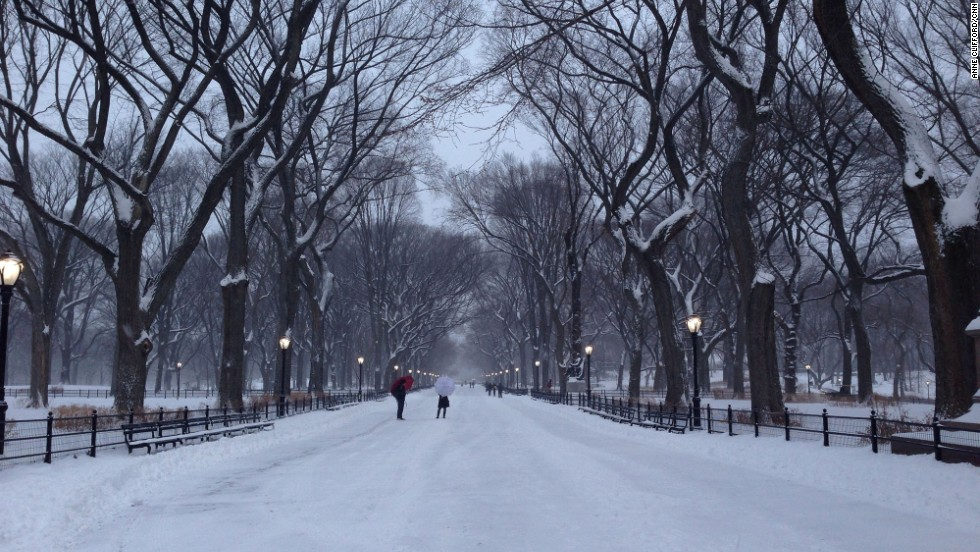 CNN's Anne Clifford took this photo of snow-covered walkways in New York's Central Park on Friday, January 3.