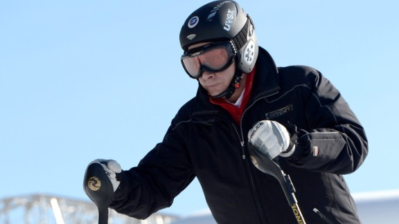 Russian president Vladimir Putin hits the slopes of Sochi during a pre-Olympic Winter Games visit to the Black Sea resort.