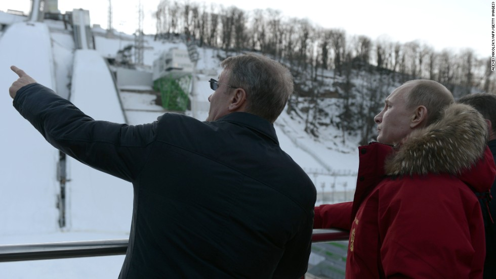 Putin is shown facilities at Sochi ahead of the Winter Games which start next month at the Black Sea resort.