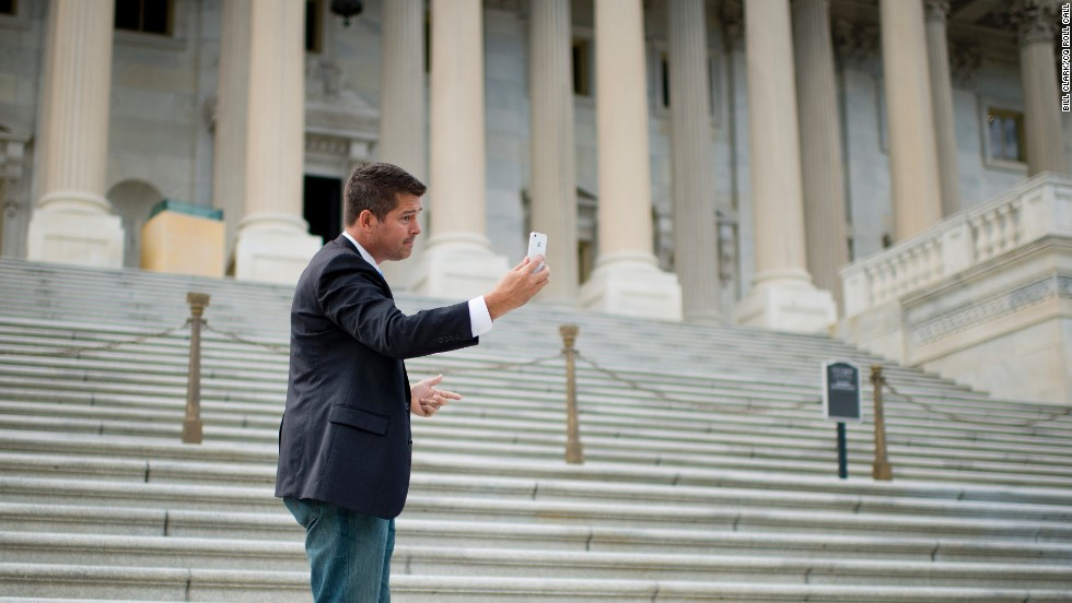 "Sean Duffy, the former ""Real World: Boston"" star, was elected to the U.S. House in 2010 and re-elected in 2012. Here, the Wisconsin Republican shoots a video of himself on the Senate steps In Washington."