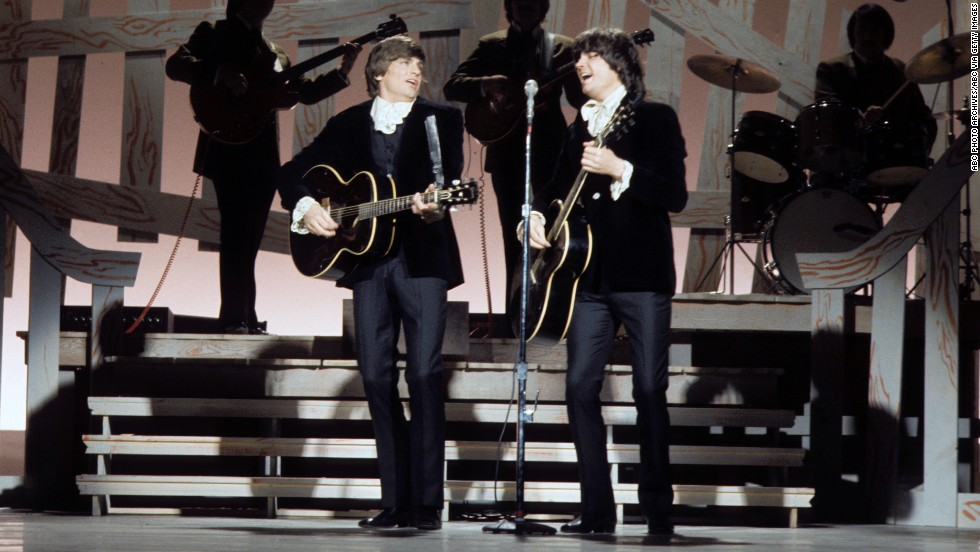 "Rolling Stone labeled the Everly Brothers ""the most important vocal duo in rock,"" having influenced the Beatles, the Beach Boys, Simon & Garfunkel and many other acts. Here, with Phil on the left, they perform on the Johnny Cash Show in 1970."