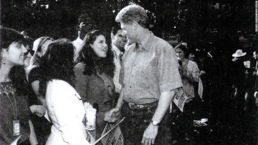 This photograph of Lewinsky meeting Clinton at a White House function was released by the House Judiciary Committee and submitted as evidence against Clinton by Special Prosecutor Kenneth Starr.