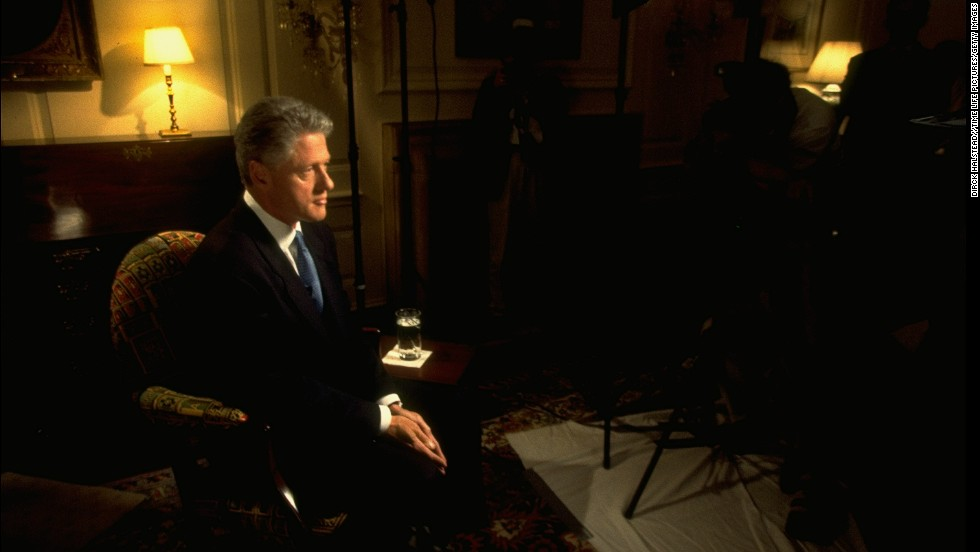 Clinton sits in the White House Map Room before delivering his speech to the nation about the Lewinsky controversy.