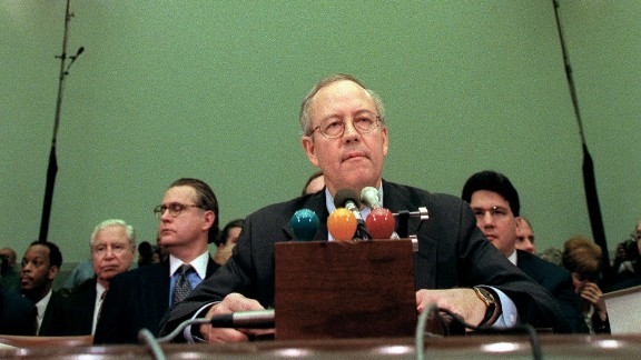 Independent Counsel Kenneth Starr testifies during the House Judiciary Committee impeachment hearings against President Bill Clinton in November 1998.