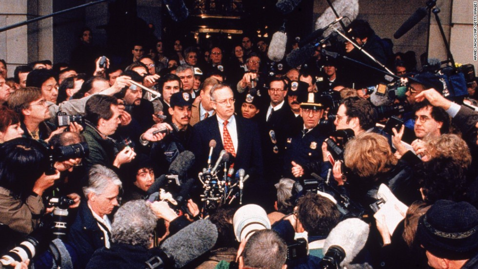 On January 22, 1998, Starr stands before the media outside the Justice Department, answering questions about his investigation into Clinton and Lewinsky.