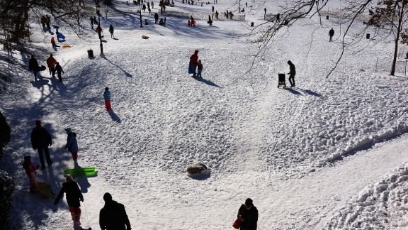 People go sledding in Prospect Park in Brooklyn, New York, on January 4.