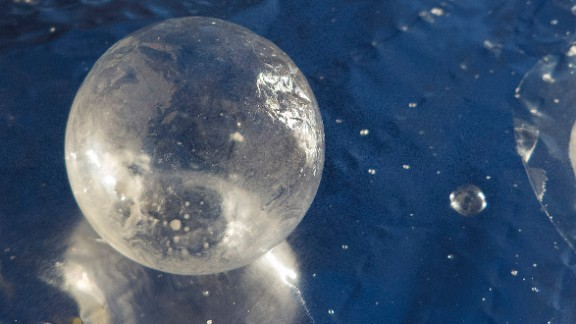 "CNN iReporter Robert Livesay took this picture of frozen ice bubble he blew in Grove, Oklahoma, on Monday, January 6. ""If you have too much wind, the bubbles will blow away,"" he said."