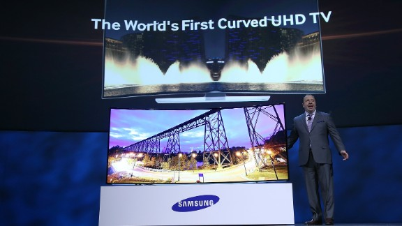 LAS VEGAS, NV - JANUARY 06: Samsung Electronics Executive Vice President Joe Stinziano announcs the new Samsung 105 inch curved UHD television as he speaks during a press event at the Mandalay Bay Convention Center for the 2014 International CES on January 6, 2014 in Las Vegas, Nevada. CES, the world's largest annual consumer technology trade show, runs from January 7-10 and is expected to feature 3,200 exhibitors showing off their latest products and services to about 150,000 attendees. (Photo by Justin Sullivan/Getty Images)