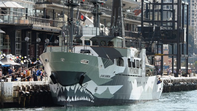 Anti-whaling group Sea Shepherd's ship is moored in Sydney in August 2013.