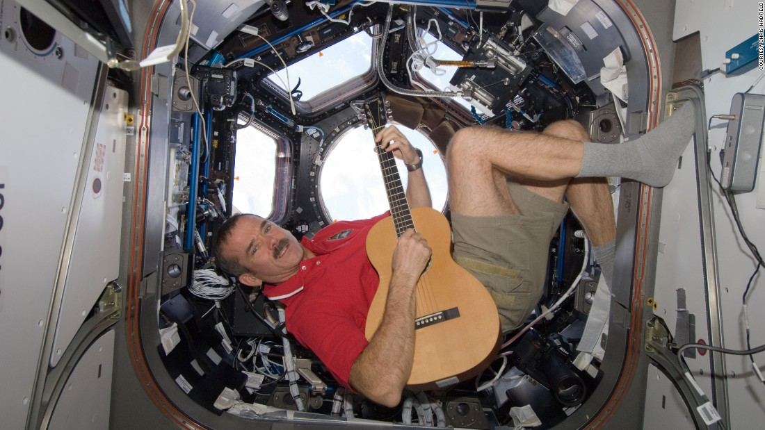 "Canadian astronaut <a href=""http://www.cnn.com/2013/05/13/tech/web/astronaut-space-oddity/"">sings David Bowie's ""Space Oddity""</a> in zero gravity aboard the International Space Station in May 2013. The video got more than 24 million views on YouTube."