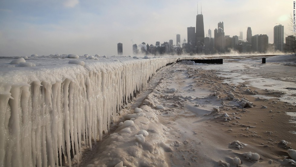 Ice builds up along Lake Michigan at Chicago's North Avenue Beach on Monday, January 6.