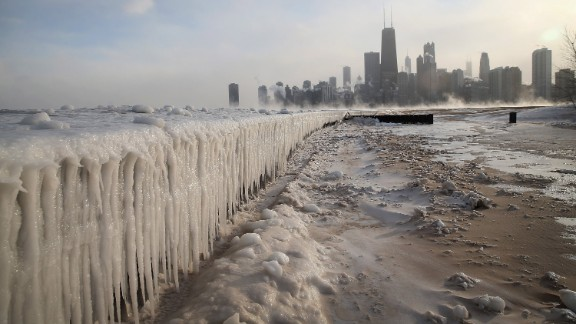 Ice builds up along Lake Michigan at Chicago