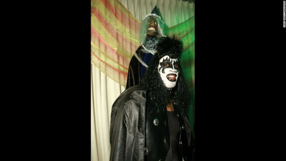 Rodman wears makeup similar to the rock band Kiss in 2006.