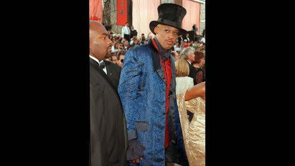 Rodman arrives at the Academy Awards ceremony in 1997.