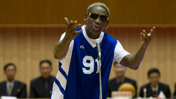 "Dennis Rodman sings ""Happy Birthday"" to North Korean leader Kim Jong Un before an exhibition basketball game in Pyongyang, North Korea, on Wednesday, January 8. In his latest round of ""basketball diplomacy,"" Rodman made his fourth visit to North Korea, one of the world's most totalitarian states, to participate in a basketball game between a team of North Koreans and a team of former NBA players."