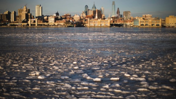 Ice collects on the Delaware River near Philadelphia on January 8.