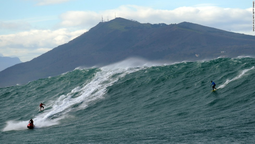 Winter storms in Europe have brewed big waves off some of the continent's surfing hot spots. The swell at famous surf spot Belharra, two kilometers off the French coast, saw some of the sport's top names fly in from around the world.
