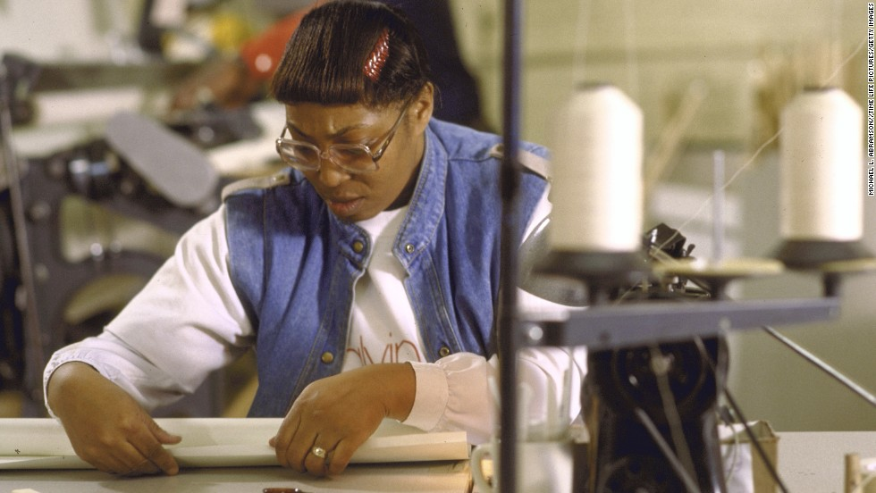 A woman in 1987 participates in a workforce program that trains and finds new jobs for people on welfare.
