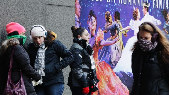 "People wait outside the Broadway Theatre in New York City to buy tickets for the show ""Cinderella"" on January 8."