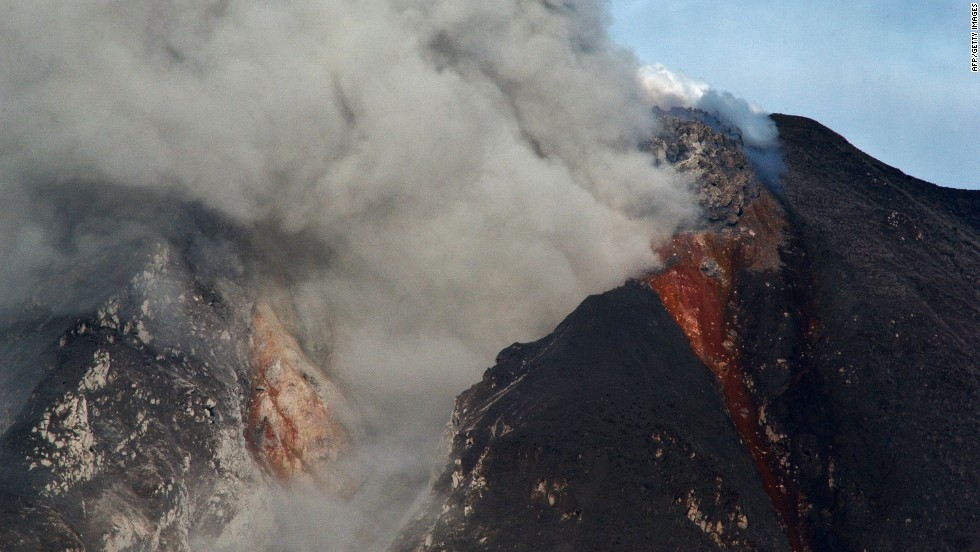 Mount Sinabung spews ash and lava during an eruption.