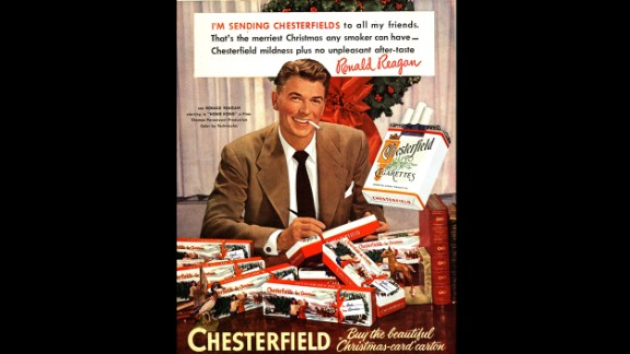 On January 11, 1964, U.S. Surgeon General Luther Terry issued a landmark report on the negative health risks caused by smoking tobacco. But you wouldn't know those risks by looking at some of these prominent advertisements of the 20th century. Here, actor and future U.S. President Ronald Reagan is seen in a 1950s ad for Chesterfield cigarettes.