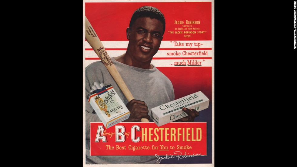 Ground-breaking baseball player Jackie Robinson endorses Chesterfield cigarettes in this 1940s advertisement.