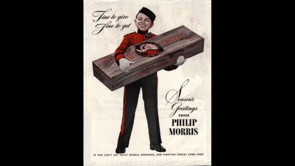 A 1940s holiday ad for Philip Morris cigarettes.