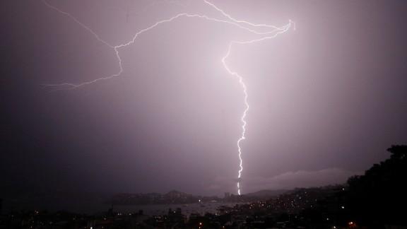 Flashes of lightning strike across the sky. (File photo)