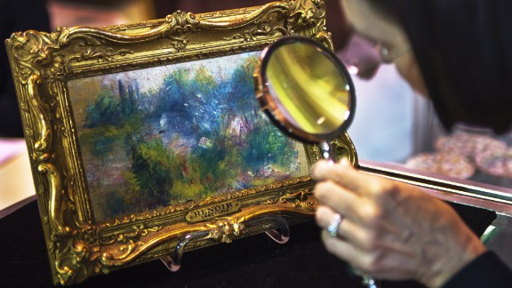 "A 19th-century Renoir painting was stolen from a US museum in 1951 and then bought at a flea market in 2010. A judge later ruled that it to be returned to the museum. The 5½-by-9-inch painting, titled ""Landscape on the Banks of the Seine,"" was bought for $7 at a flea market by a Virginia woman."