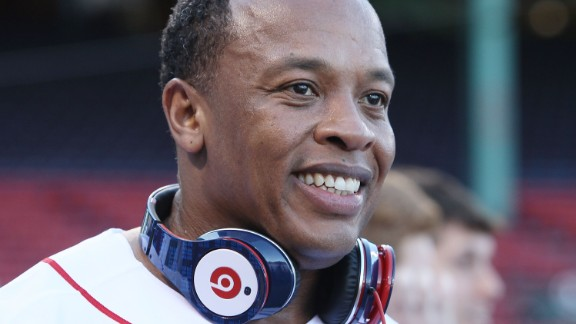 Producer and musician Dr. Dre wearing his Beats at a Boston Red Sox game in 2010.