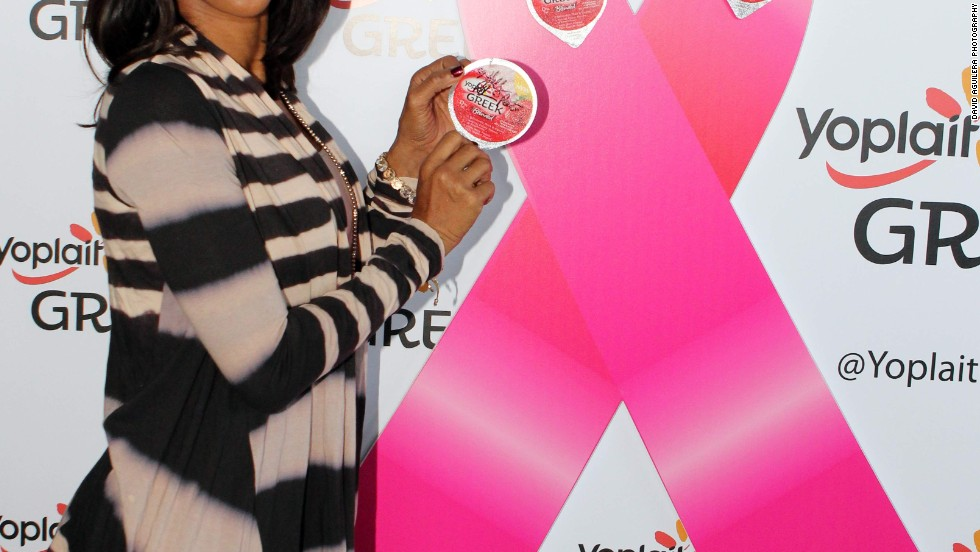 Holly Robinson Peete puts her lid to good use, joining Yoplait Greek yogurt in the fight against breast cancer at the GBK Gift Lounge. For every lid licked during the event, Yoplait Greek will donate $100 to Susan G. Komen for the Cure, up to a maximum of $5,000