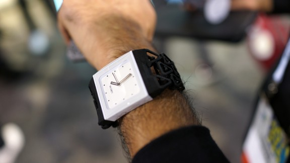 """When 3D printers and wearable technology meet, people can make their own creative watch straps like this one spotted at the <a href=""""http://www.3dsystems.com/"""" target=""""_blank"""" target=""""_blank"""">3DSystems</a> booth at CES."""