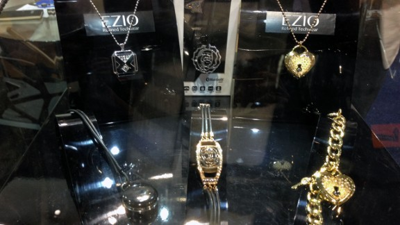 """<a href=""""http://www.eziolifestyle.com/"""" target=""""_blank"""" target=""""_blank"""">Ezio</a> makes flashy costume-like jewelry such as necklaces and bracelets. They have small gems that light up to indicate incoming calls or messages."""