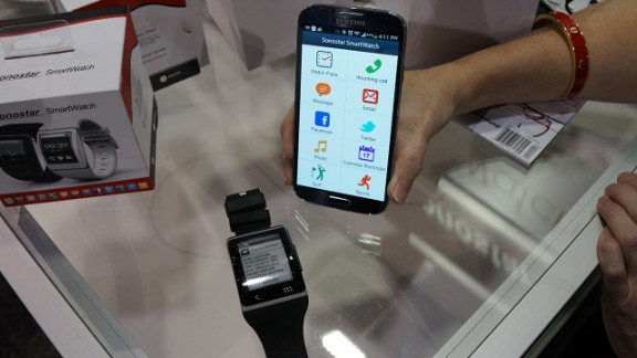 """The <a href=""""http://www.sonostar.com/"""" target=""""_blank"""" target=""""_blank"""">Sonostar</a> watch has a curved screen to wrap around the wrist and an eInk display so it is more power efficient."""