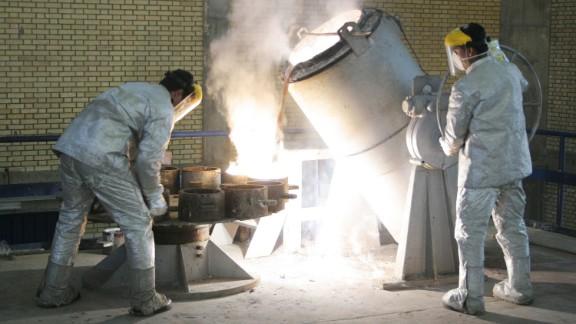 Technicians work inside of a uranium conversion facility near Tehran, Iran.