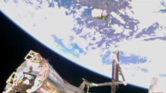 In this image from video from NASA the Cygnus resupply spacecraft approaches the International Space Station early Sunday.