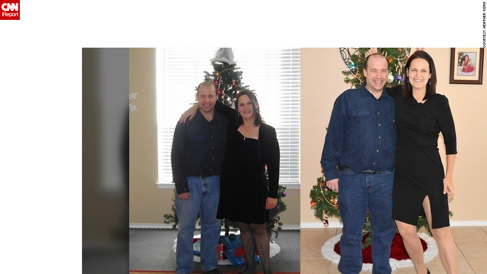 Kern poses with her brother at Christmas time in 2012, on the left, and 2013, on the right.