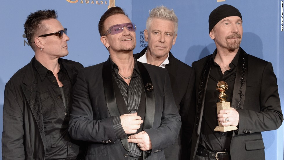 "U2 canceled a weeklong gig on ""The Tonight Show with Jimmy Fallon"" in November 2014 after frontman Bono, second from left, injured his arm while bicycling in New York City."