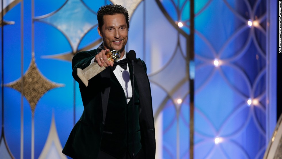 "Matthew McConaughey accepts the award for best actor in a drama for his performance in the film ""Dallas Buyers Club."""