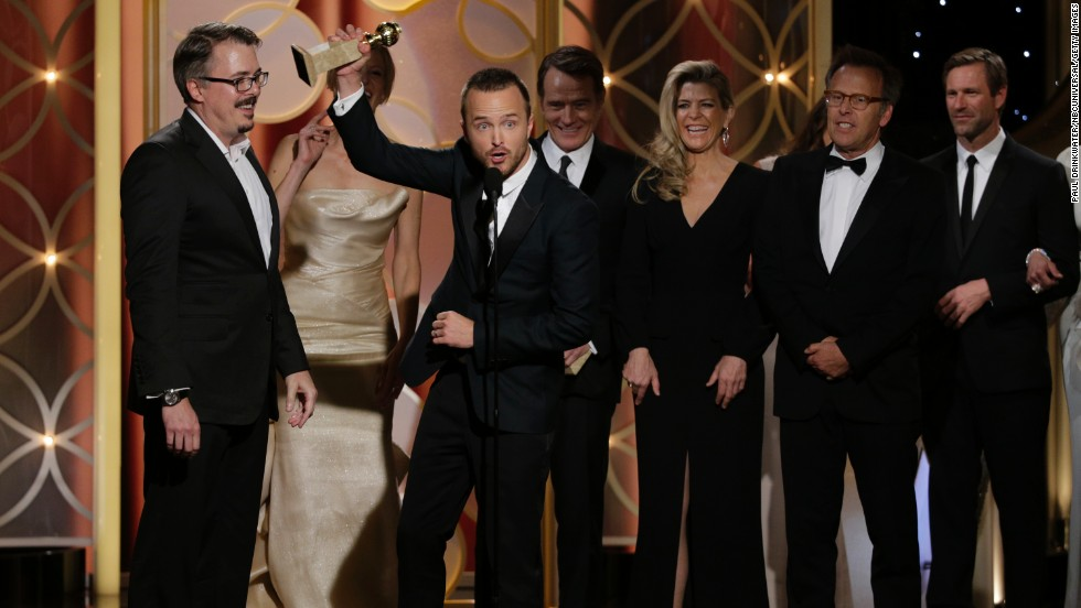 "Vince Gilligan, left, and the cast of ""Breaking Bad"" accept the award for best TV series in the drama category."
