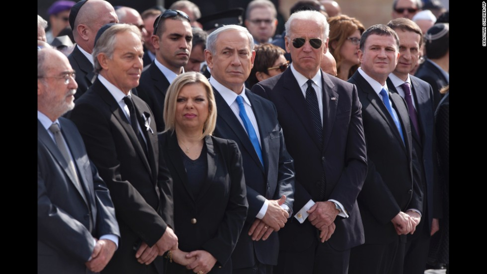 U.S. Vice President Joe Biden, wearing glasses, stands to the left of Netanyahu; Netanyahu's wife, Sarah; and former British Prime Minister Tony Blair.