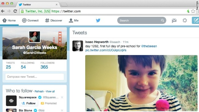 "Twitter's new Web design includes a ""compose"" box in the left rail next to the user's feed."