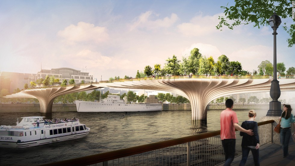 """We need to hold up this large weight, complete with worms, rainwater and decomposing leafy mulch, without letting the bridge structure become visually more important than the garden,"" Heatherwick told <a href=""http://edition.cnn.com/2014/01/16/world/leonardo-dicaprio-inspired-london-bridge-park/"">Wired</a> in February."